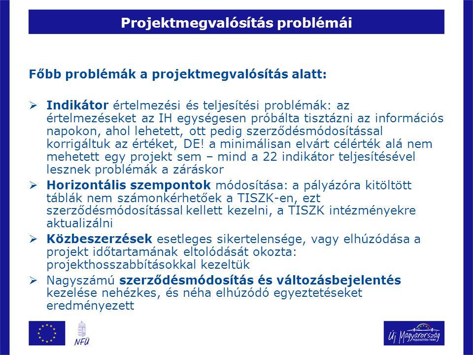 Projektmegvalósítás problémái Főbb problémák a projektmegvalósítás alatt:  Indikátor értelmezési és teljesítési problémák: az értelmezéseket az IH eg