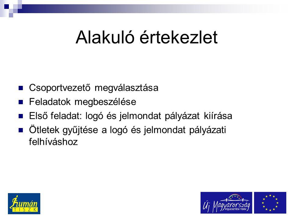 Alakuló értekezlet Csoportvezető megválasztása Feladatok megbeszélése Első feladat: logó és jelmondat pályázat kiírása Ötletek gyűjtése a logó és jelmondat pályázati felhíváshoz