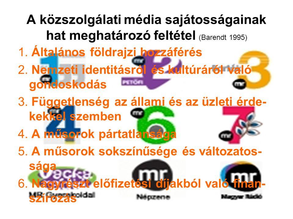 A közszolgálati média sajátosságainak hat meghatározó feltétel (Barendt 1995) 1.