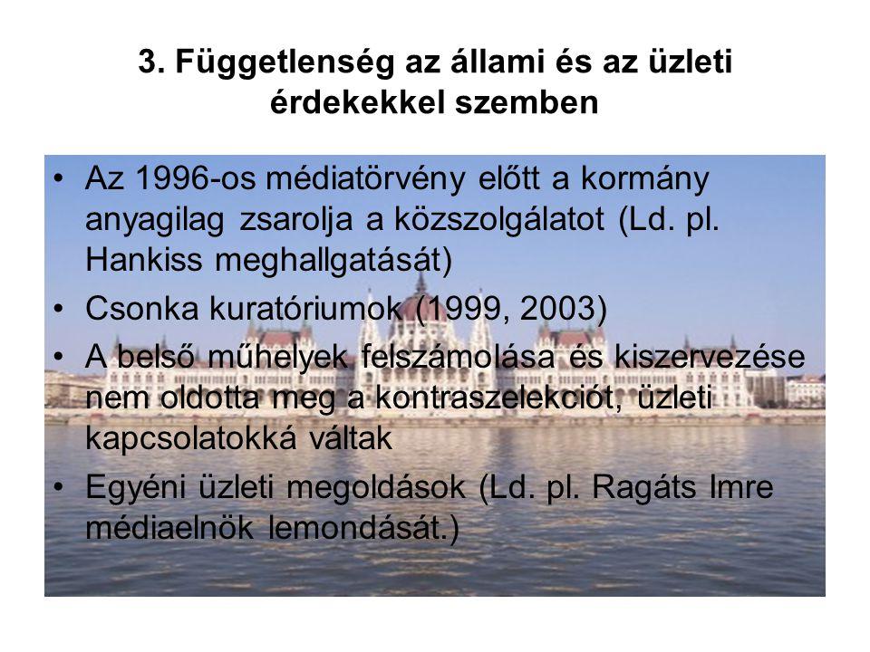 3. Függetlenség az állami és az üzleti érdekekkel szemben Az 1996-os médiatörvény előtt a kormány anyagilag zsarolja a közszolgálatot (Ld. pl. Hankiss
