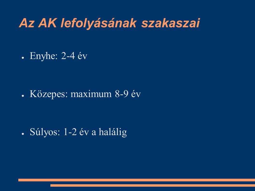 Az AK lefolyásának szakaszai ●E●Enyhe: 2-4 év ●K●Közepes: maximum 8-9 év ●S●Súlyos: 1-2 év a halálig