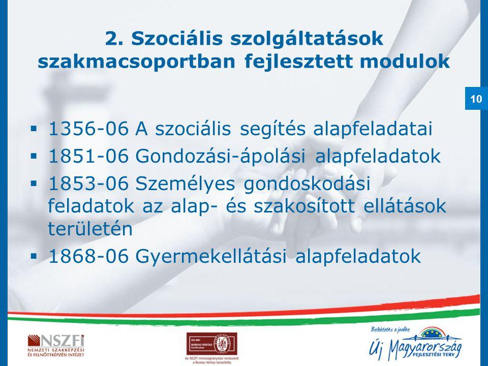 10 2. Szociális szolgáltatások szakmacsoportban fejlesztett modulok  1356-06 A szociális segítés alapfeladatai  1851-06 Gondozási-ápolási alapfelada