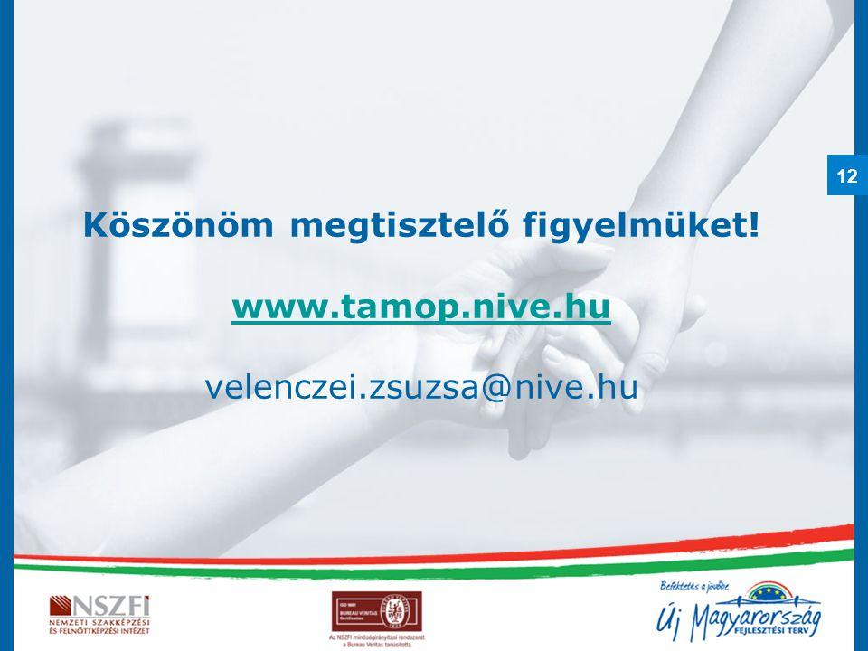 12 Köszönöm megtisztelő figyelmüket! www.tamop.nive.hu velenczei.zsuzsa@nive.hu www.tamop.nive.hu