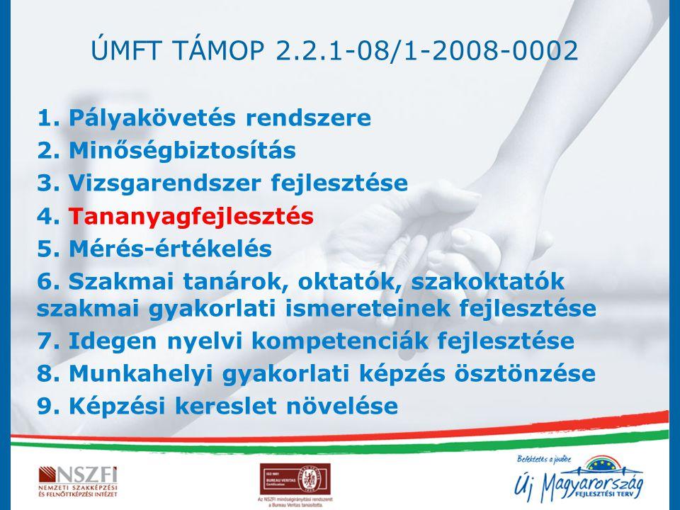 ÚMFT TÁMOP 2.2.1-08/1-2008-0002 1. Pályakövetés rendszere 2. Minőségbiztosítás 3. Vizsgarendszer fejlesztése 4. Tananyagfejlesztés 5. Mérés-értékelés