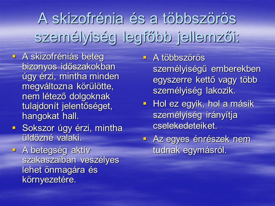 A skizofrénia és a többszörös személyiség legfőbb jellemzői:  A skizofréniás beteg bizonyos időszakokban úgy érzi, mintha minden megváltozna körülött