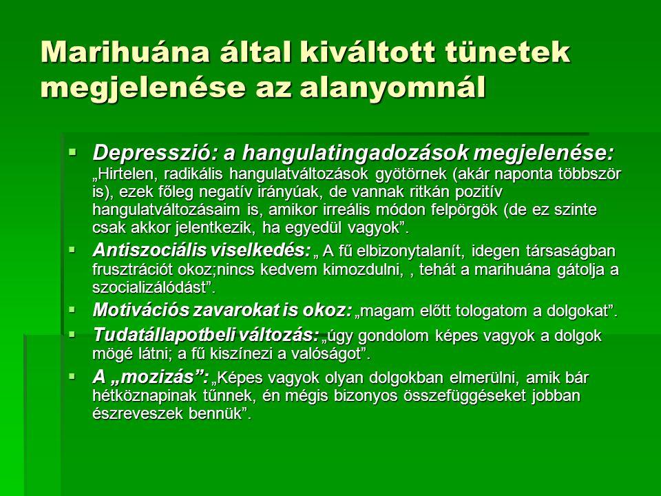 """Marihuána által kiváltott tünetek megjelenése az alanyomnál  Depresszió: a hangulatingadozások megjelenése: """"Hirtelen, radikális hangulatváltozások g"""