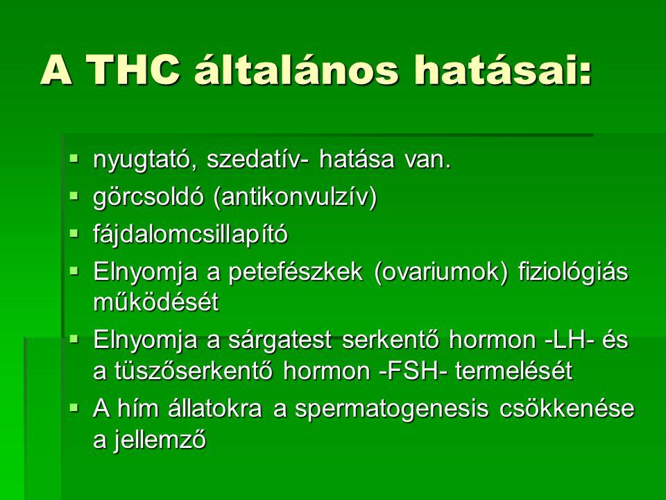 A THC általános hatásai:  nyugtató, szedatív- hatása van.  görcsoldó (antikonvulzív)  fájdalomcsillapító  Elnyomja a petefészkek (ovariumok) fizio