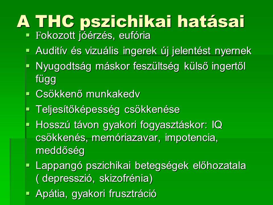A THC keringési rendszerre gyakorolt hatásai  Pulzusszám-gyarapodás (tachicardia)  Magas vérnyomás  Kötőhártya erős belövelltsége  Fokozott éhségérzet  Torok és szájszárazság  Izzadás, testhőmérséklet emelkedése  Torokirritáció és köhögés  Krónikus fogyasztás során létrejöhet asztma és bronchitisz