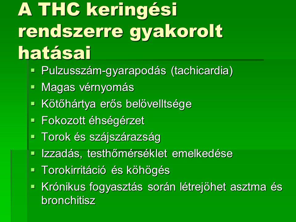 A THC keringési rendszerre gyakorolt hatásai  Pulzusszám-gyarapodás (tachicardia)  Magas vérnyomás  Kötőhártya erős belövelltsége  Fokozott éhségé