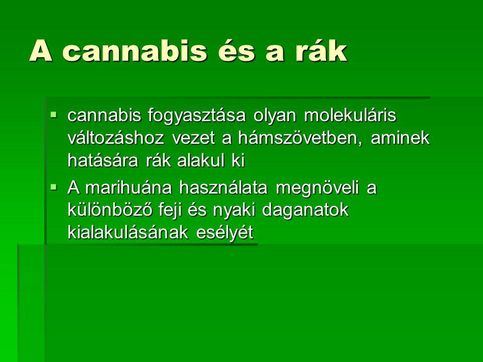 A cannabis és a rák  cannabis fogyasztása olyan molekuláris változáshoz vezet a hámszövetben, aminek hatására rák alakul ki  A marihuána használata