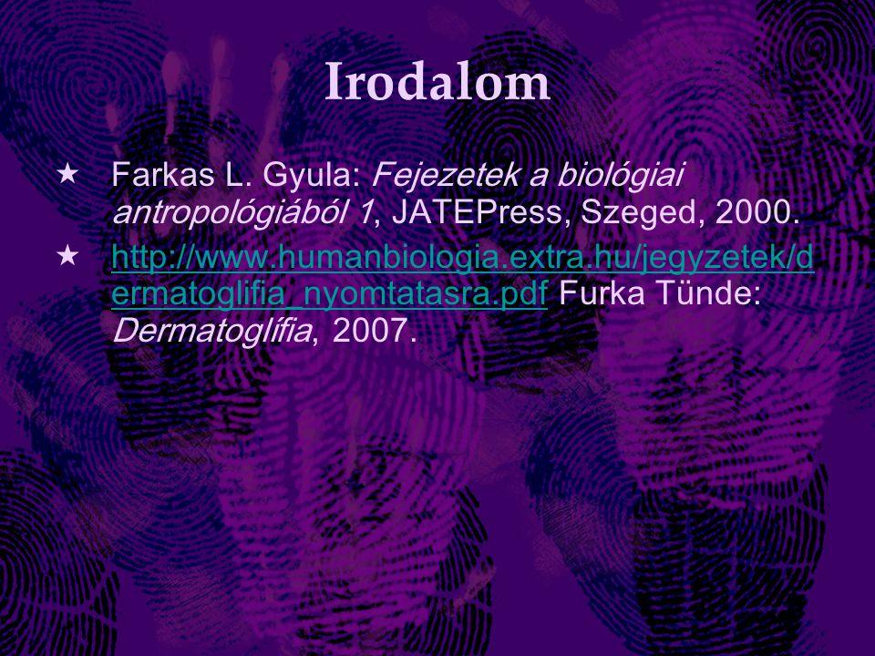 Irodalom  Farkas L.Gyula: Fejezetek a biológiai antropológiából 1, JATEPress, Szeged, 2000.