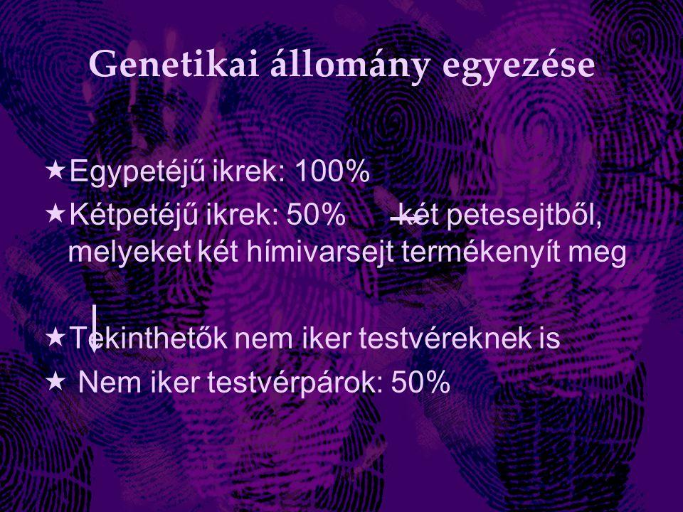 Genetikai állomány egyezése  Egypetéjű ikrek: 100%  Kétpetéjű ikrek: 50% két petesejtből, melyeket két hímivarsejt termékenyít meg  Tekinthetők nem iker testvéreknek is  Nem iker testvérpárok: 50%