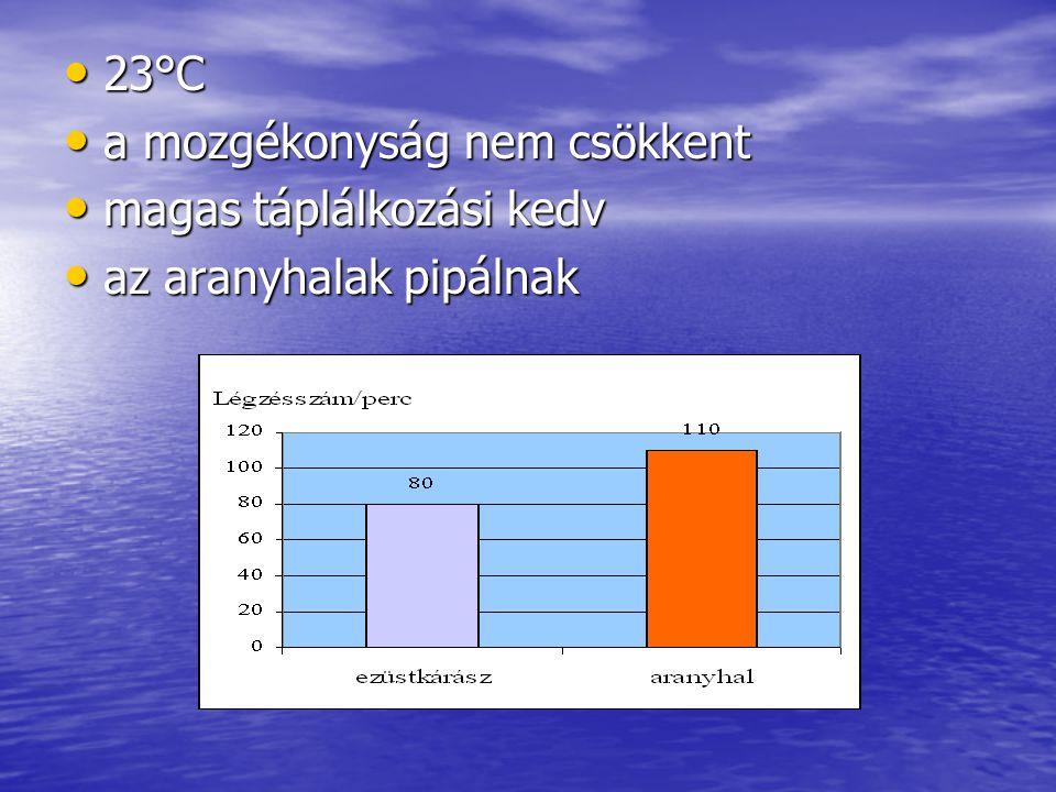 23°C 23°C a mozgékonyság nem csökkent a mozgékonyság nem csökkent magas táplálkozási kedv magas táplálkozási kedv az aranyhalak pipálnak az aranyhalak pipálnak