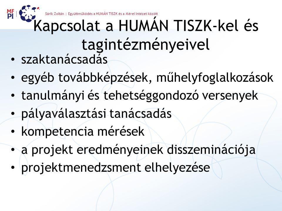 Sárik Zoltán | Együttműködés a HUMÁN TISZK és a Mérei Intézet között Kapcsolat a HUMÁN TISZK-kel és tagintézményeivel szaktanácsadás egyéb továbbképzé