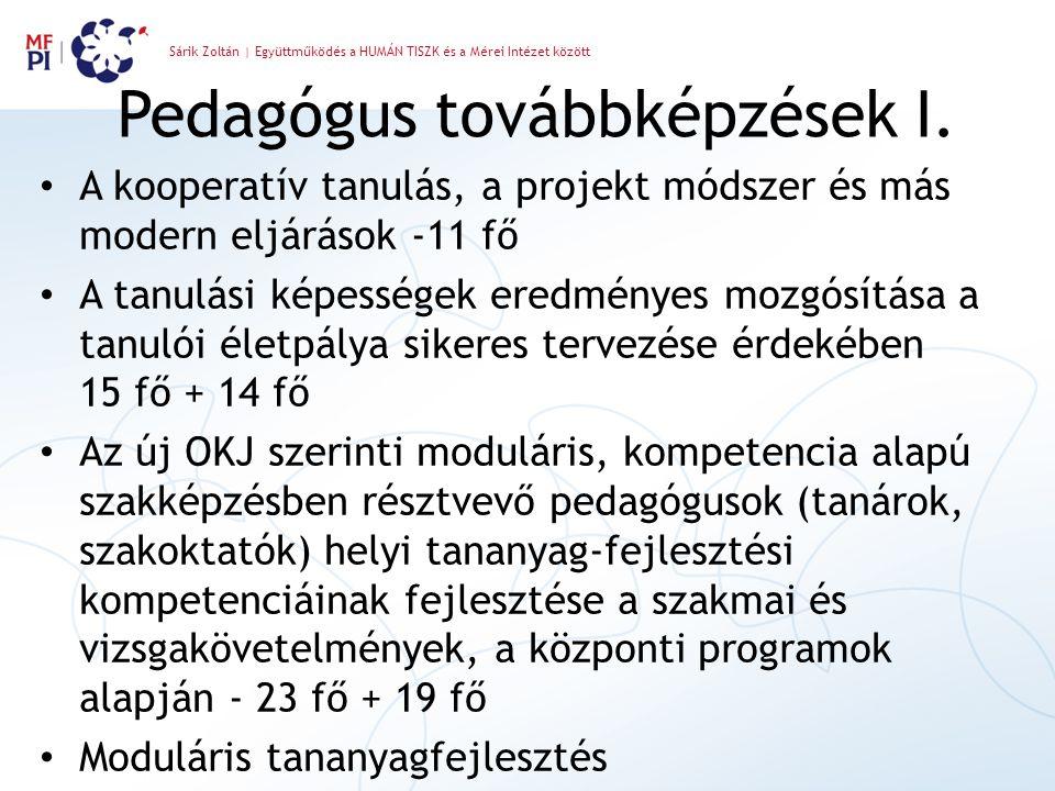 Sárik Zoltán | Együttműködés a HUMÁN TISZK és a Mérei Intézet között Pedagógus továbbképzések I. A kooperatív tanulás, a projekt módszer és más modern