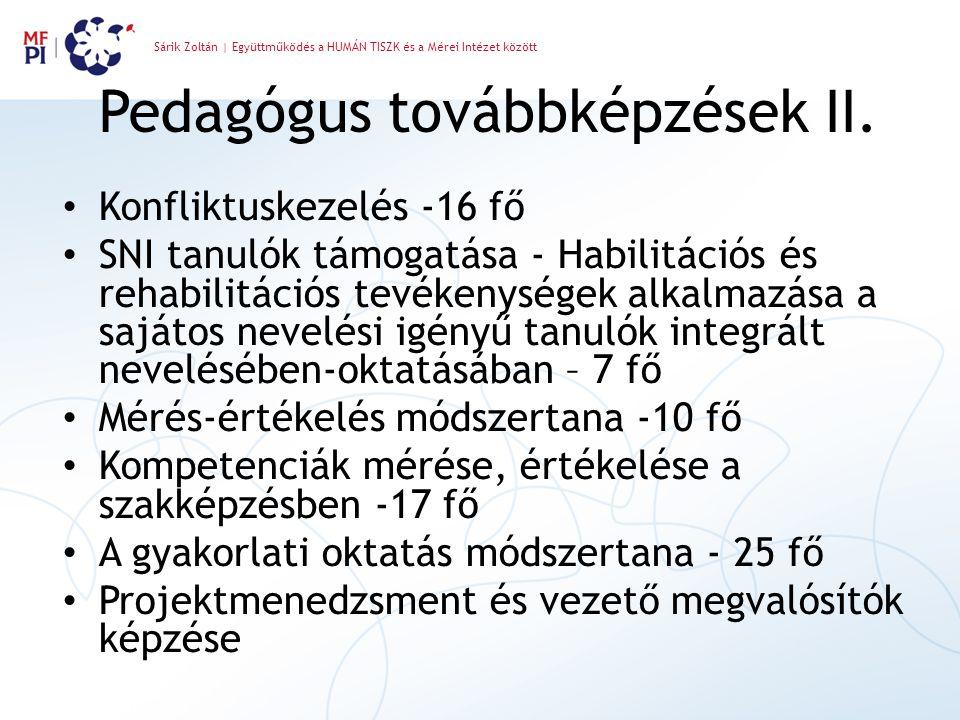 Sárik Zoltán | Együttműködés a HUMÁN TISZK és a Mérei Intézet között Pedagógus továbbképzések II. Konfliktuskezelés -16 fő SNI tanulók támogatása - Ha