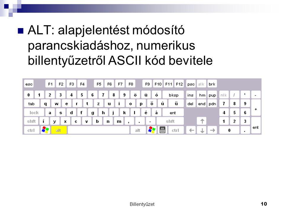 Billentyűzet10 ALT: alapjelentést módosító parancskiadáshoz, numerikus billentyűzetről ASCII kód bevitele