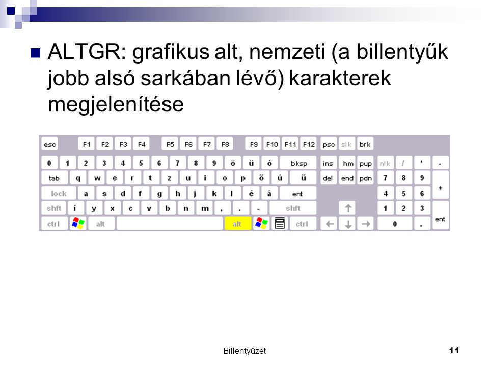 Billentyűzet11 ALTGR: grafikus alt, nemzeti (a billentyűk jobb alsó sarkában lévő) karakterek megjelenítése