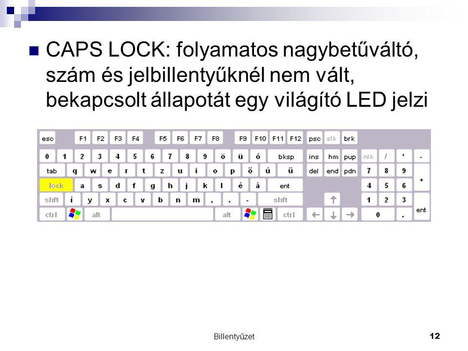 Billentyűzet12 CAPS LOCK: folyamatos nagybetűváltó, szám és jelbillentyűknél nem vált, bekapcsolt állapotát egy világító LED jelzi