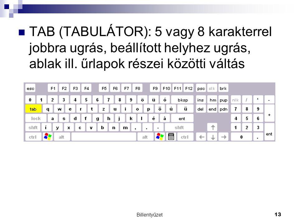 Billentyűzet13 TAB (TABULÁTOR): 5 vagy 8 karakterrel jobbra ugrás, beállított helyhez ugrás, ablak ill.