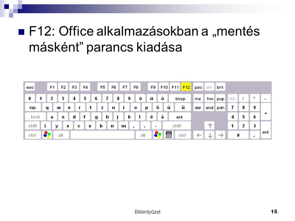 """Billentyűzet15 F12: Office alkalmazásokban a """"mentés másként parancs kiadása"""