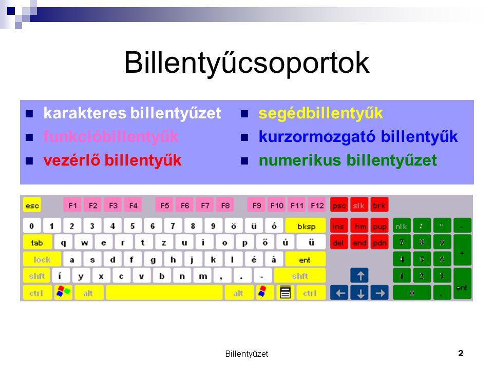 Billentyűzet2 Billentyűcsoportok segédbillentyűk kurzormozgató billentyűk numerikus billentyűzet karakteres billentyűzet funkcióbillentyűk vezérlő billentyűk