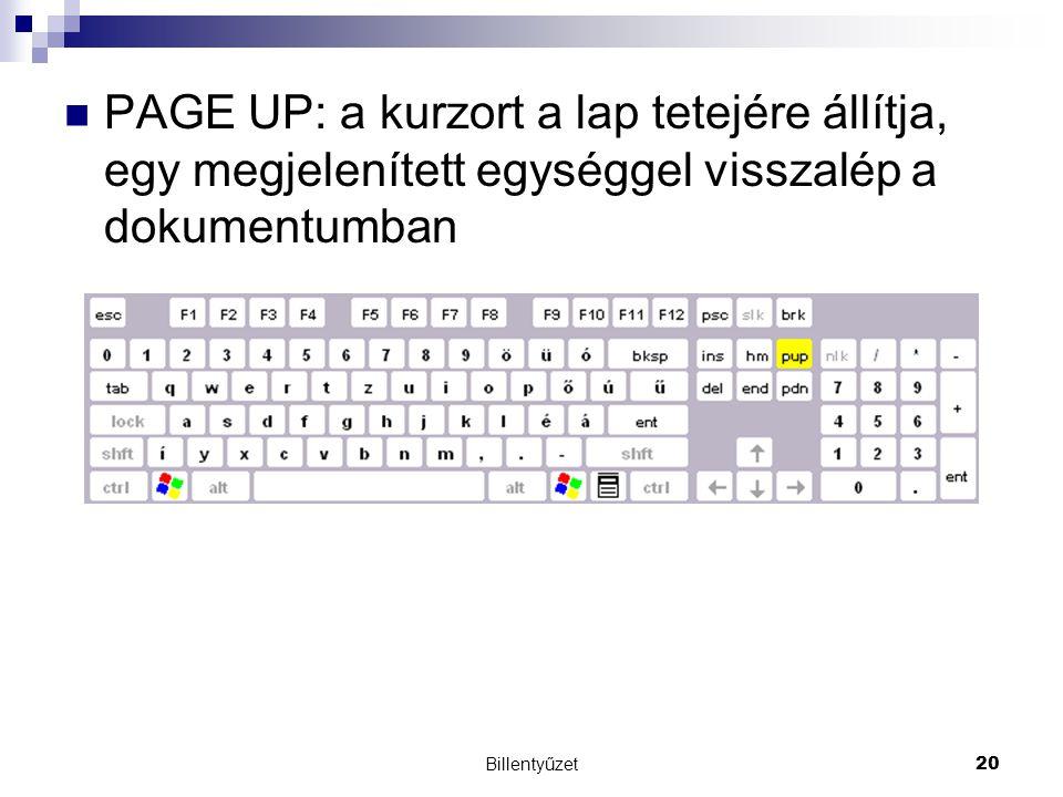 Billentyűzet20 PAGE UP: a kurzort a lap tetejére állítja, egy megjelenített egységgel visszalép a dokumentumban