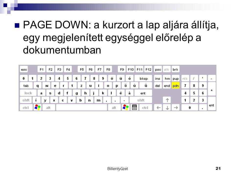 Billentyűzet21 PAGE DOWN: a kurzort a lap aljára állítja, egy megjelenített egységgel előrelép a dokumentumban