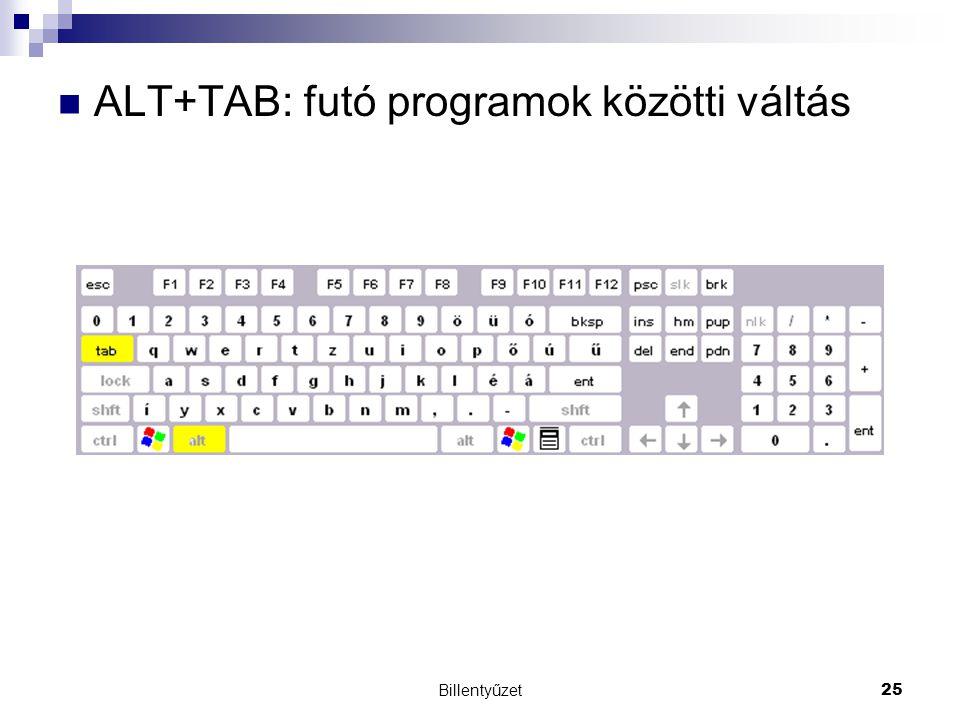 Billentyűzet25 ALT+TAB: futó programok közötti váltás