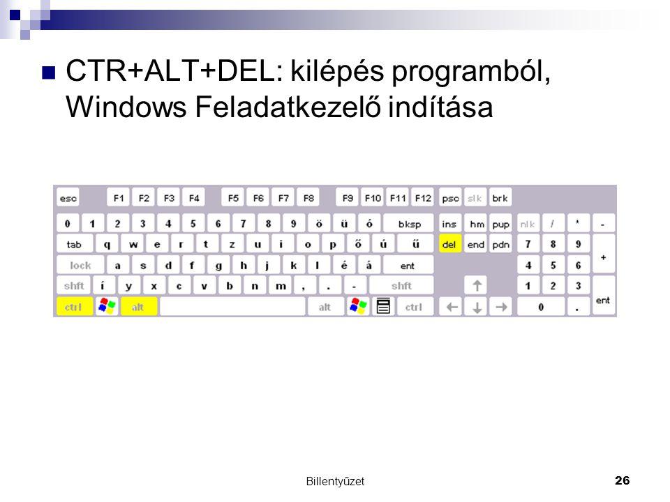 Billentyűzet26 CTR+ALT+DEL: kilépés programból, Windows Feladatkezelő indítása