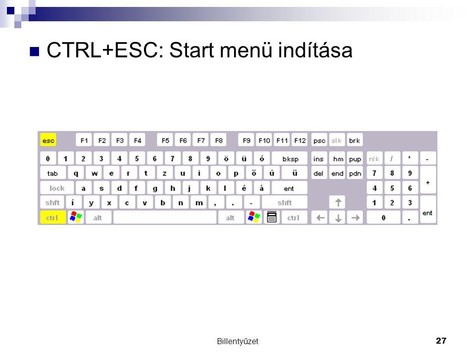 Billentyűzet27 CTRL+ESC: Start menü indítása