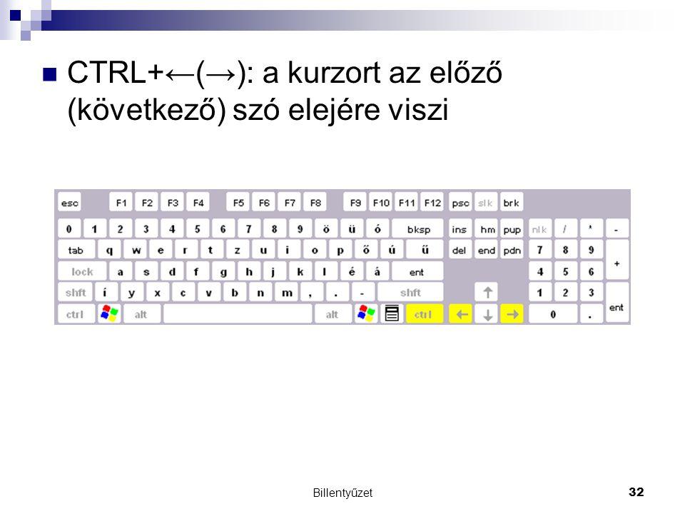 Billentyűzet32 CTRL+←(→): a kurzort az előző (következő) szó elejére viszi
