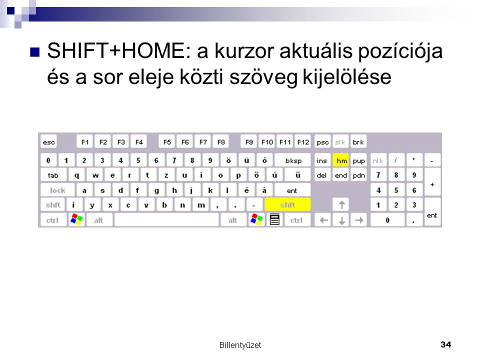 Billentyűzet34 SHIFT+HOME: a kurzor aktuális pozíciója és a sor eleje közti szöveg kijelölése