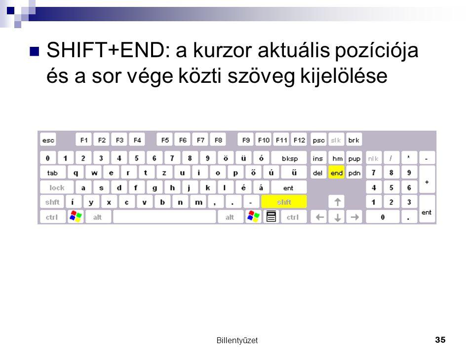 Billentyűzet35 SHIFT+END: a kurzor aktuális pozíciója és a sor vége közti szöveg kijelölése
