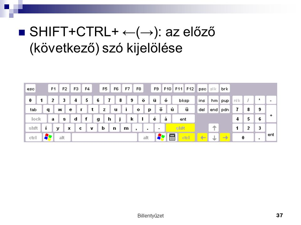 Billentyűzet37 SHIFT+CTRL+ ←(→): az előző (következő) szó kijelölése