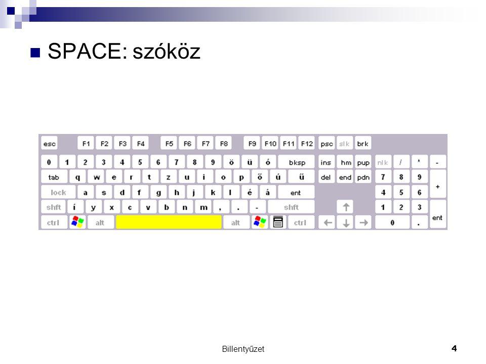 Billentyűzet4 SPACE: szóköz