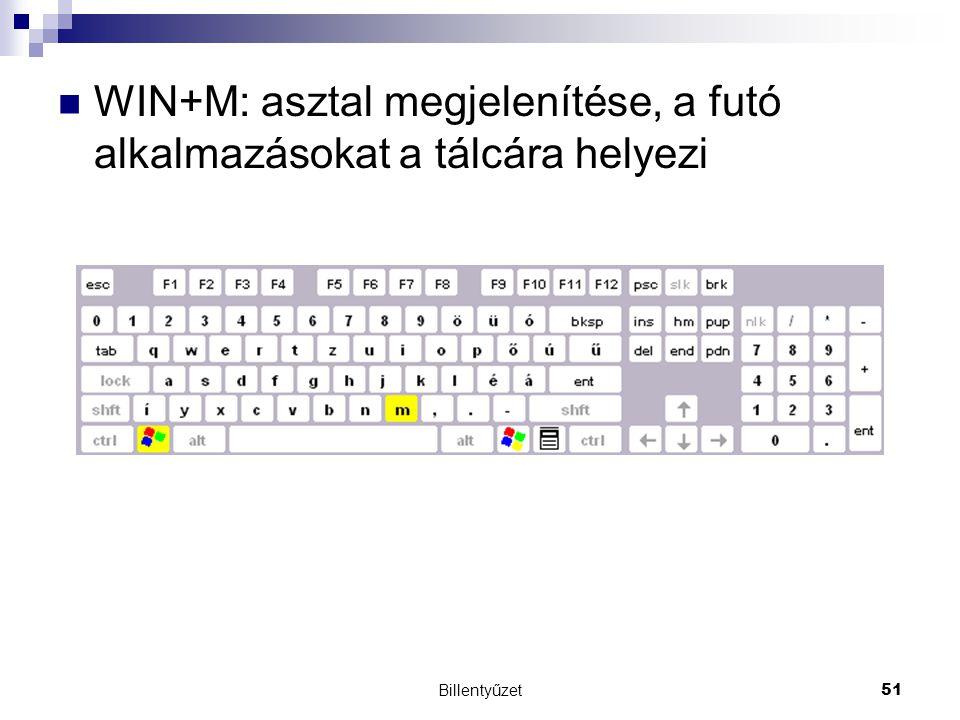 Billentyűzet51 WIN+M: asztal megjelenítése, a futó alkalmazásokat a tálcára helyezi