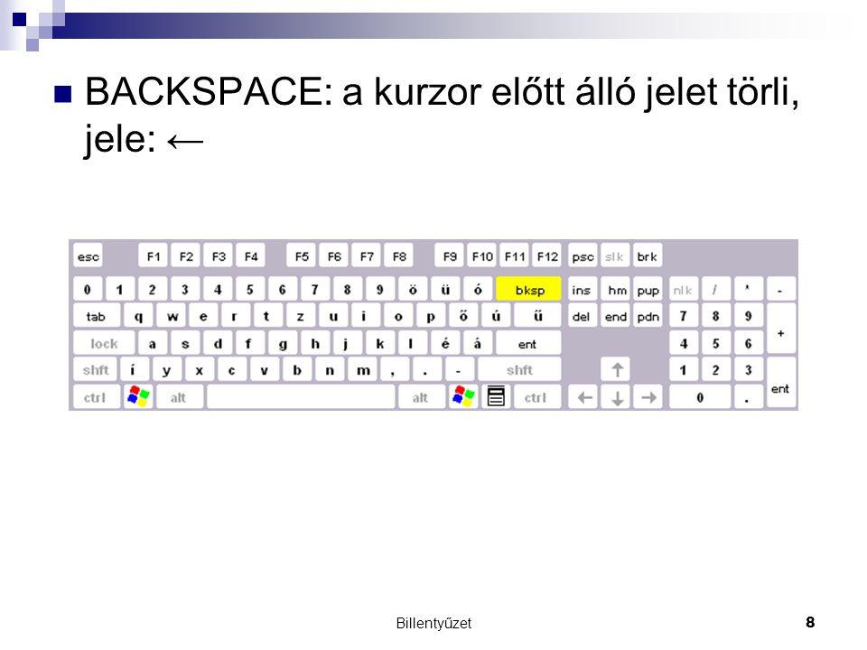 Billentyűzet8 BACKSPACE: a kurzor előtt álló jelet törli, jele: ←