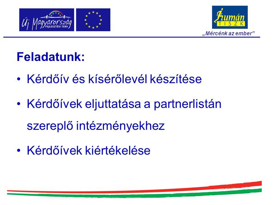 Feladatunk: Kérdőív és kísérőlevél készítése Kérdőívek eljuttatása a partnerlistán szereplő intézményekhez Kérdőívek kiértékelése