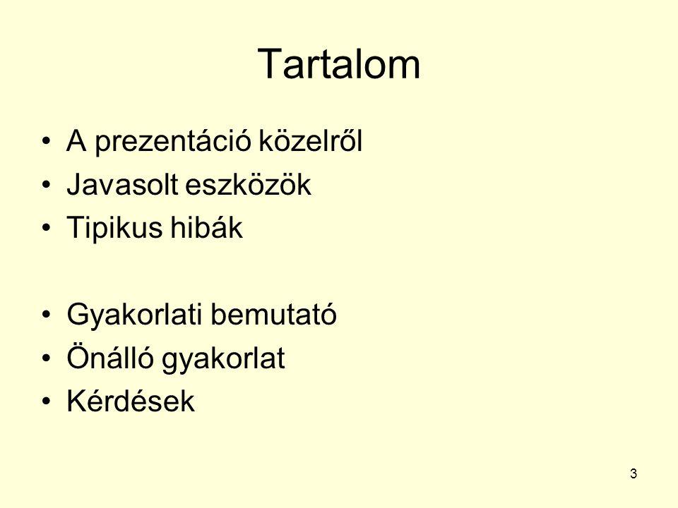 Tartalom A prezentáció közelről Javasolt eszközök Tipikus hibák Gyakorlati bemutató Önálló gyakorlat Kérdések 3