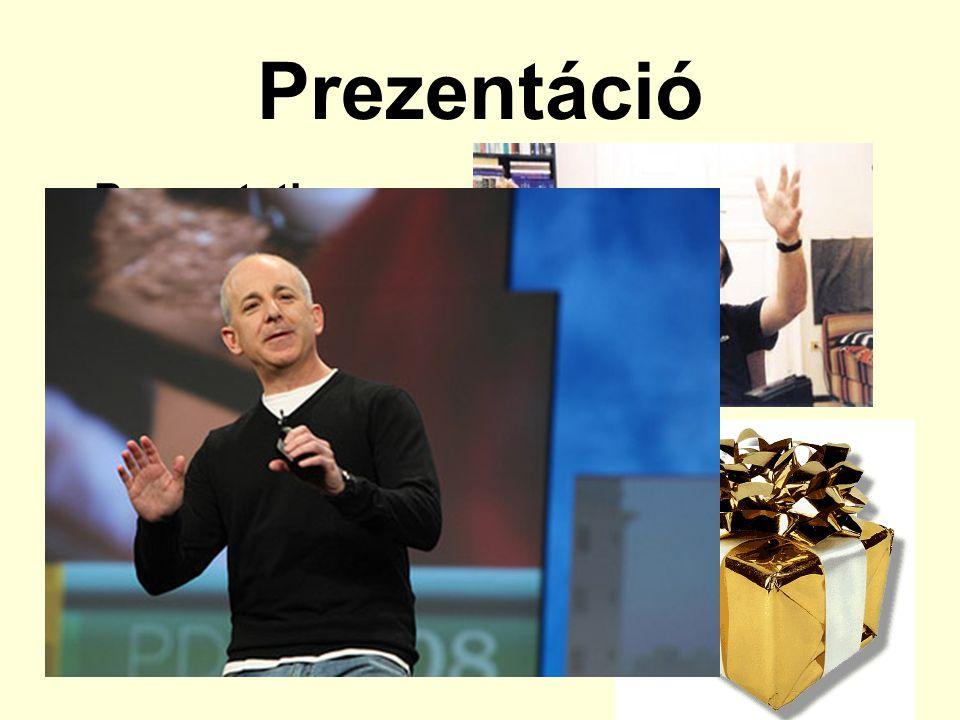 Prezentáció Presentation –Bemutatás –Előterjesztés –Tálalás –Ajándék (tárgy) Tipikusan vállalati műfaj 5