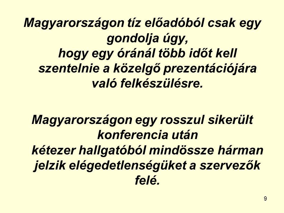 Magyarországon tíz előadóból csak egy gondolja úgy, hogy egy óránál több időt kell szentelnie a közelgő prezentációjára való felkészülésre.