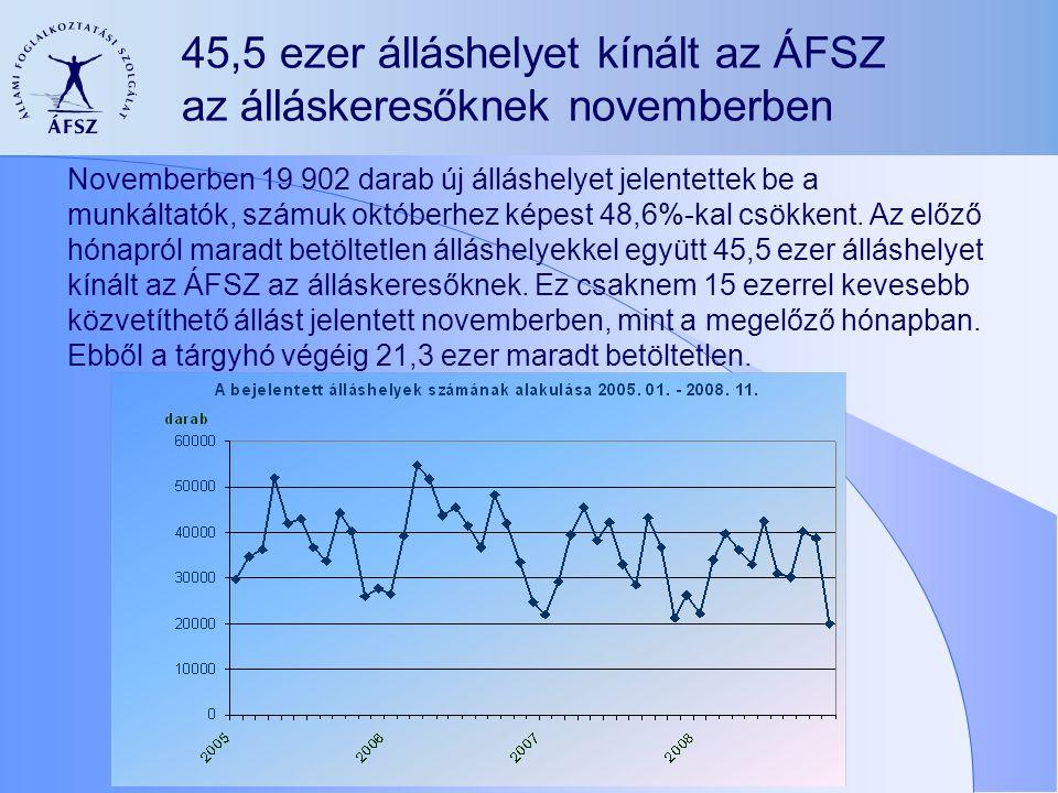 45,5 ezer álláshelyet kínált az ÁFSZ az álláskeresőknek novemberben Novemberben 19 902 darab új álláshelyet jelentettek be a munkáltatók, számuk októberhez képest 48,6%-kal csökkent.
