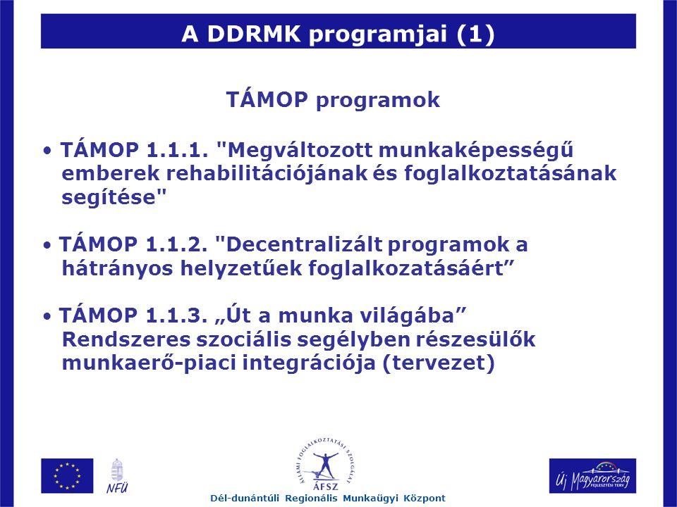 A DDRMK programjai (1) Dél-dunántúli Regionális Munkaügyi Központ TÁMOP programok TÁMOP 1.1.1.