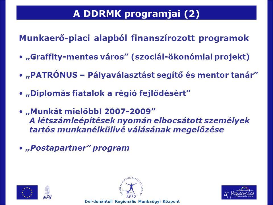 """A DDRMK programjai (2) Dél-dunántúli Regionális Munkaügyi Központ Munkaerő-piaci alapból finanszírozott programok """"Graffity-mentes város (szociál-ökonómiai projekt) """"PATRÓNUS – Pályaválasztást segítő és mentor tanár """"Diplomás fiatalok a régió fejlődésért """"Munkát mielőbb."""