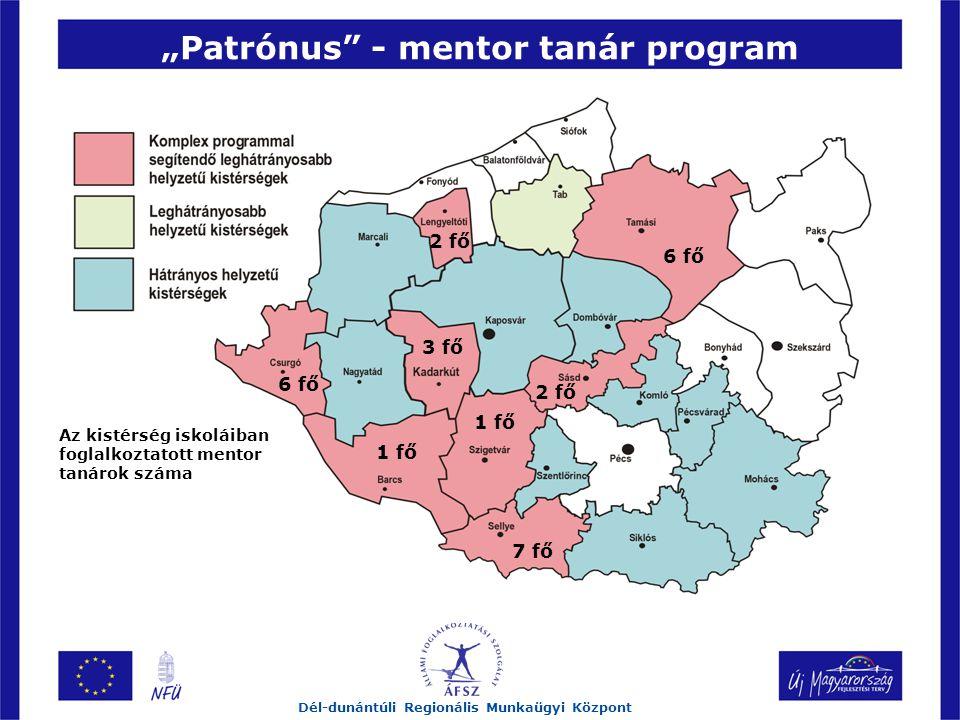 """""""Patrónus - mentor tanár program Dél-dunántúli Regionális Munkaügyi Központ 2 fő 6 fő 3 fő 2 fő 1 fő 7 fő 6 fő Az kistérség iskoláiban foglalkoztatott mentor tanárok száma"""