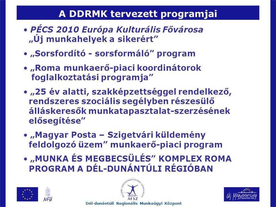 """A DDRMK tervezett programjai Dél-dunántúli Regionális Munkaügyi Központ PÉCS 2010 Európa Kulturális Fővárosa """"Új munkahelyek a sikerért """"Sorsfordító - sorsformáló program """"Roma munkaerő-piaci koordinátorok foglalkoztatási programja """"25 év alatti, szakképzettséggel rendelkező, rendszeres szociális segélyben részesülő álláskeresők munkatapasztalat-szerzésének elősegítése """"Magyar Posta – Szigetvári küldemény feldolgozó üzem munkaerő-piaci program """"MUNKA ÉS MEGBECSÜLÉS KOMPLEX ROMA PROGRAM A DÉL-DUNÁNTÚLI RÉGIÓBAN"""