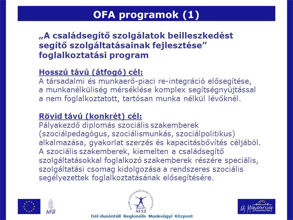 """OFA programok (1) Dél-dunántúli Regionális Munkaügyi Központ """"A családsegítő szolgálatok beilleszkedést segítő szolgáltatásainak fejlesztése foglalkoztatási program Hosszú távú (átfogó) cél: A társadalmi és munkaerő-piaci re-integráció elősegítése, a munkanélküliség mérséklése komplex segítségnyújtással a nem foglalkoztatott, tartósan munka nélkül lévőknél."""