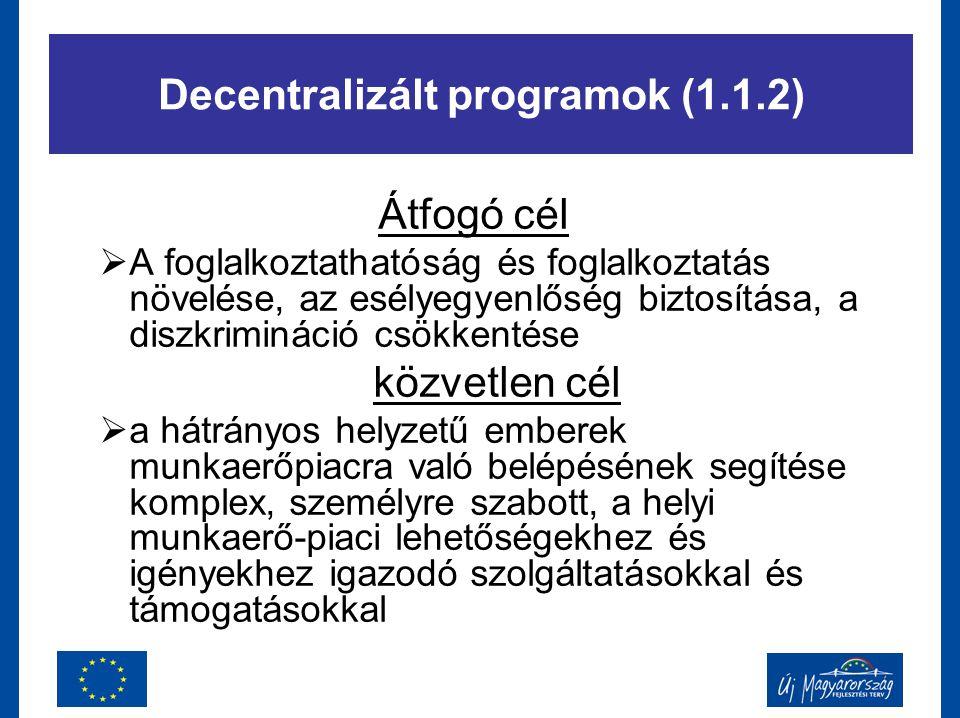 Decentralizált programok (1.1.2) Átfogó cél  A foglalkoztathatóság és foglalkoztatás növelése, az esélyegyenlőség biztosítása, a diszkrimináció csökk