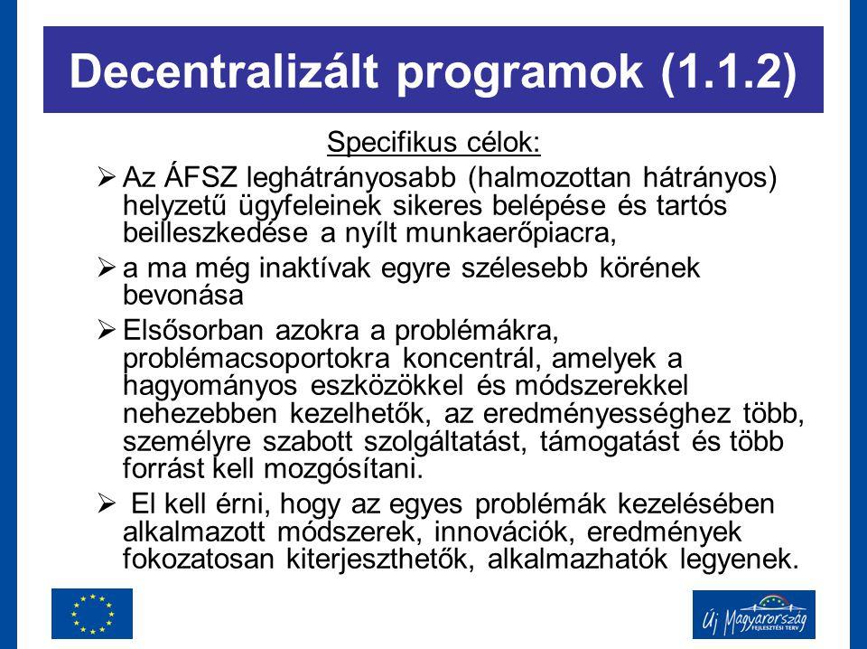 Specifikus célok:  Az ÁFSZ leghátrányosabb (halmozottan hátrányos) helyzetű ügyfeleinek sikeres belépése és tartós beilleszkedése a nyílt munkaerőpia